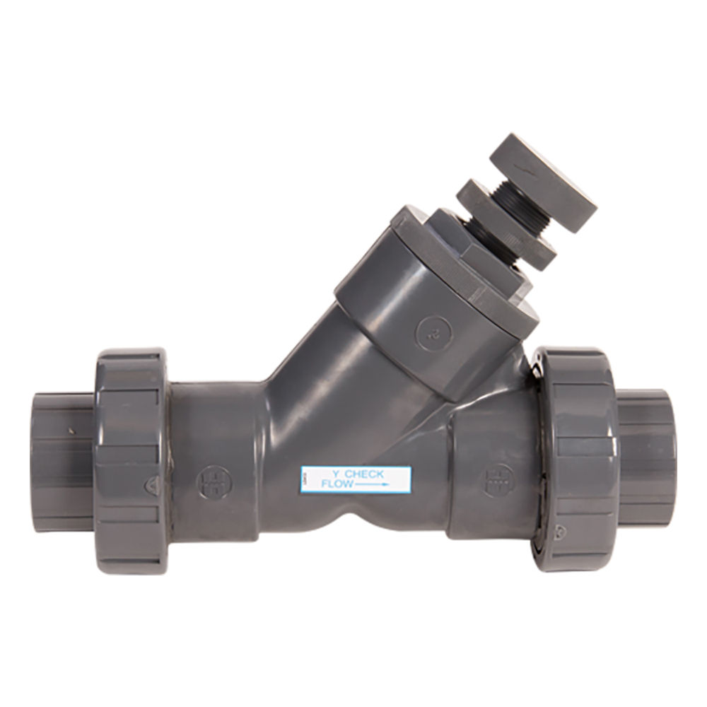 "3/4"" Threaded SLC Series Spring Loaded True Union Y-Check Valve with FPM O-rings"