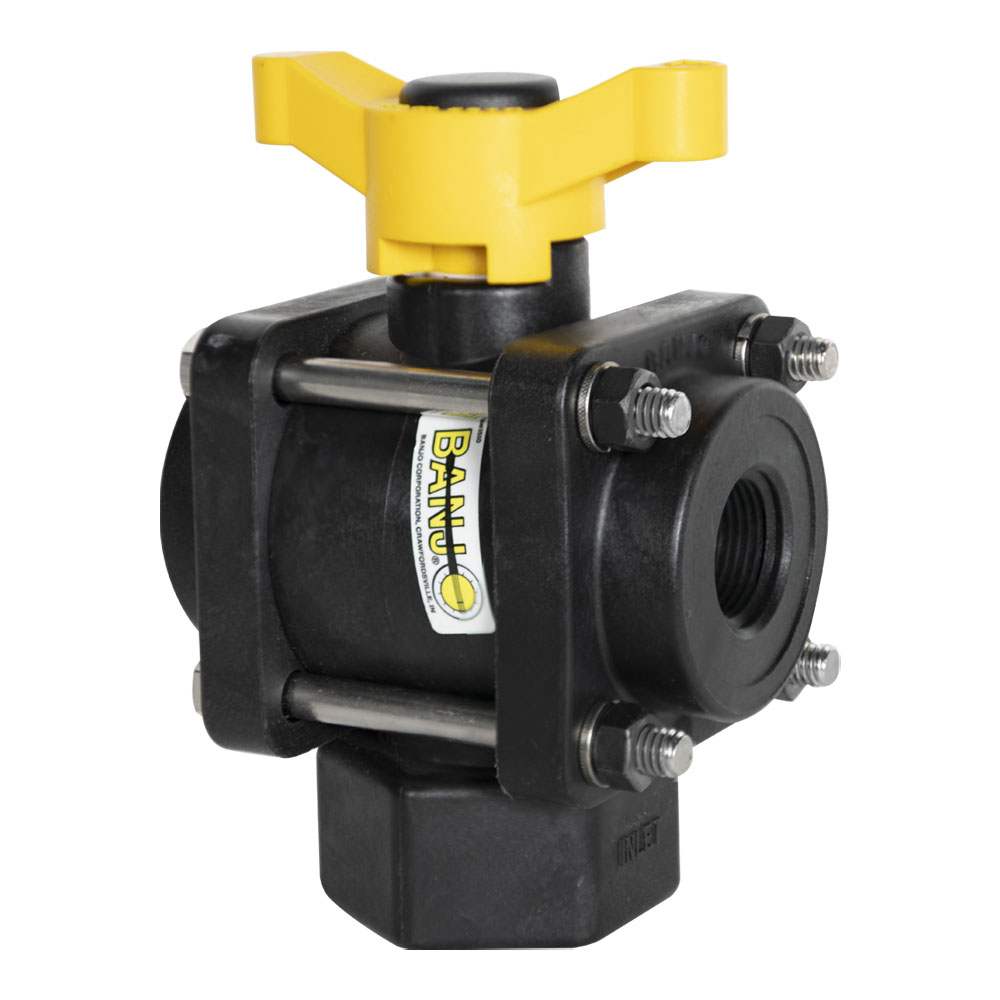 """3/4"""" FNPT 3-Way Bottom Load PP Ball Valve with 1"""" Opening Thru Ball and T Type Handle"""