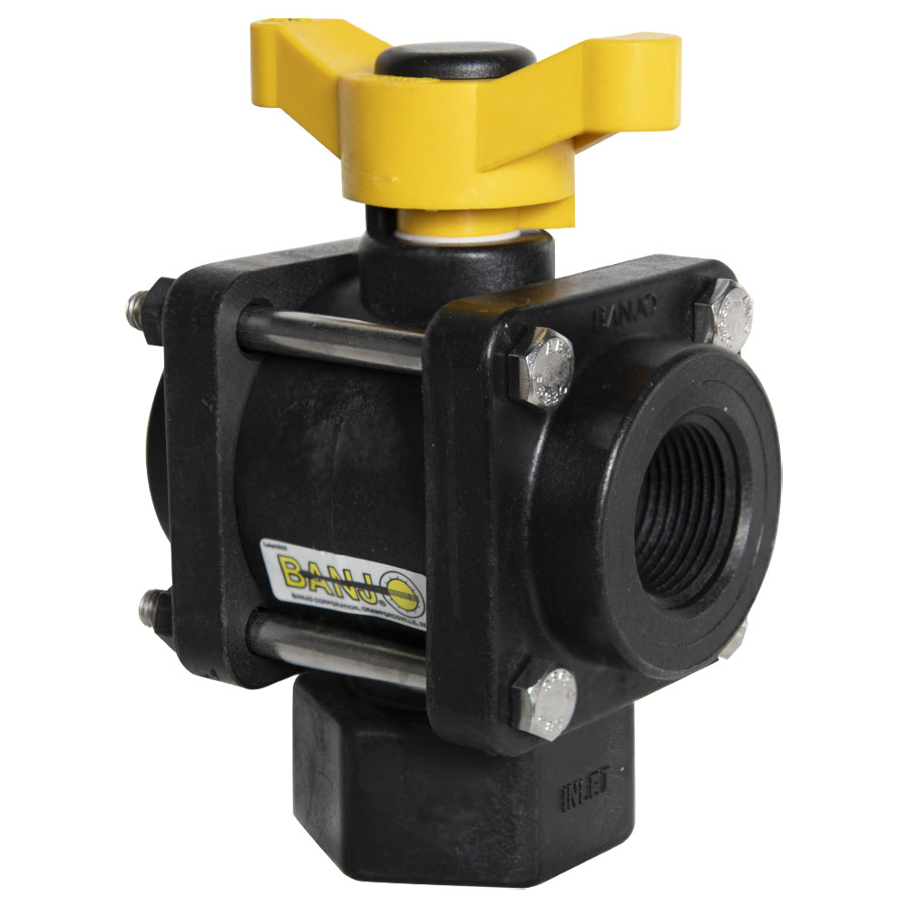 "1"" FNPT 3-Way Bottom Load PP Ball Valve with 1"" Opening Thru Ball and T Type Handle"