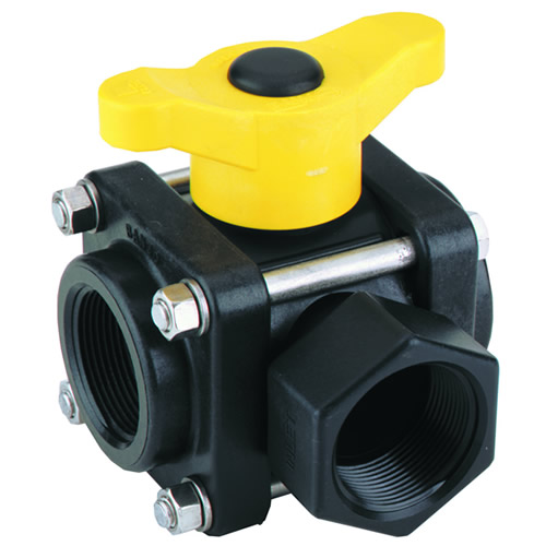 "3/4"" NPT Banjo® 3-Way Polypropylene Side Load Ball Valve"