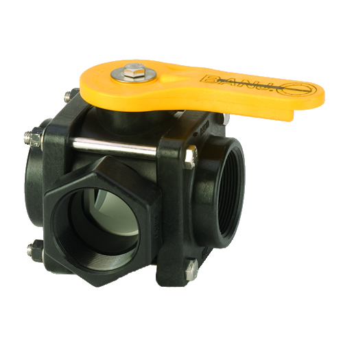 "2"" NPT Banjo® 3-Way Polypropylene Side Load Ball Valve"