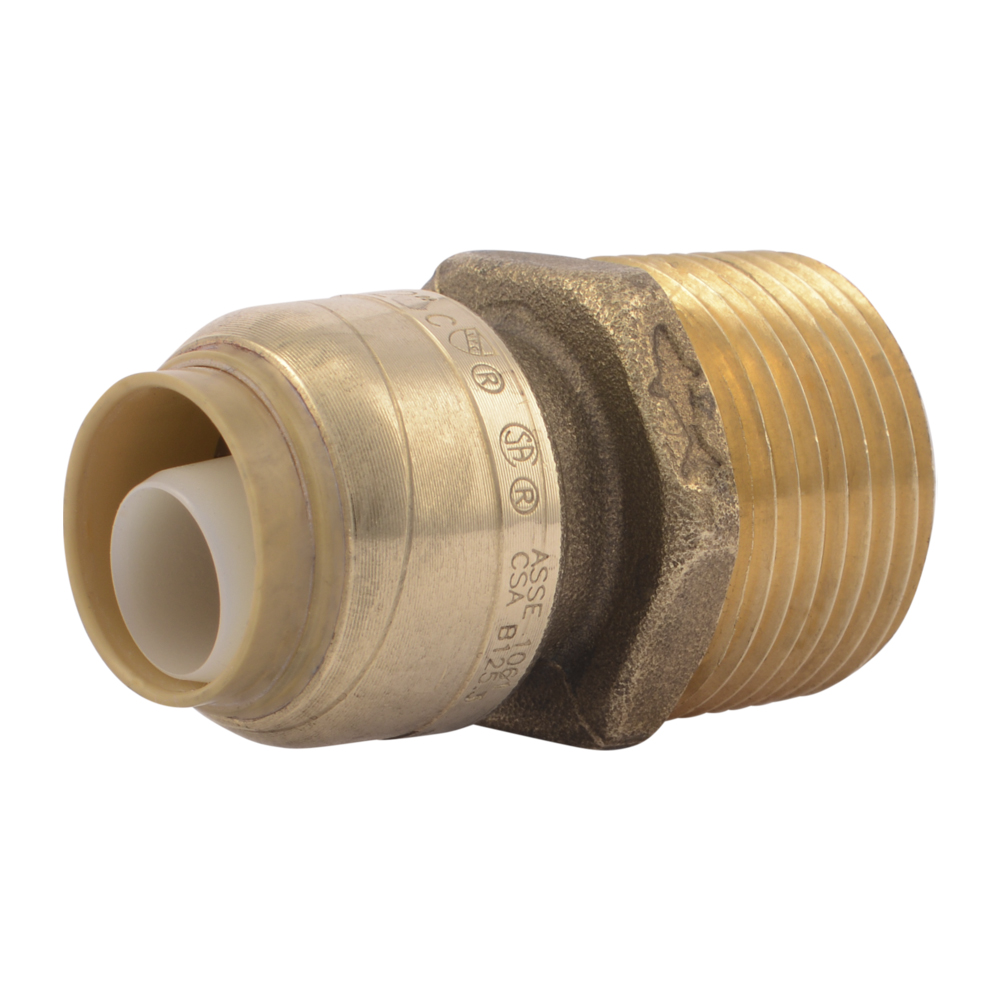 "1/2"" Push-to-Connect x 3/4"" MNPT SharkBite® Brass Reducing Male Connector"