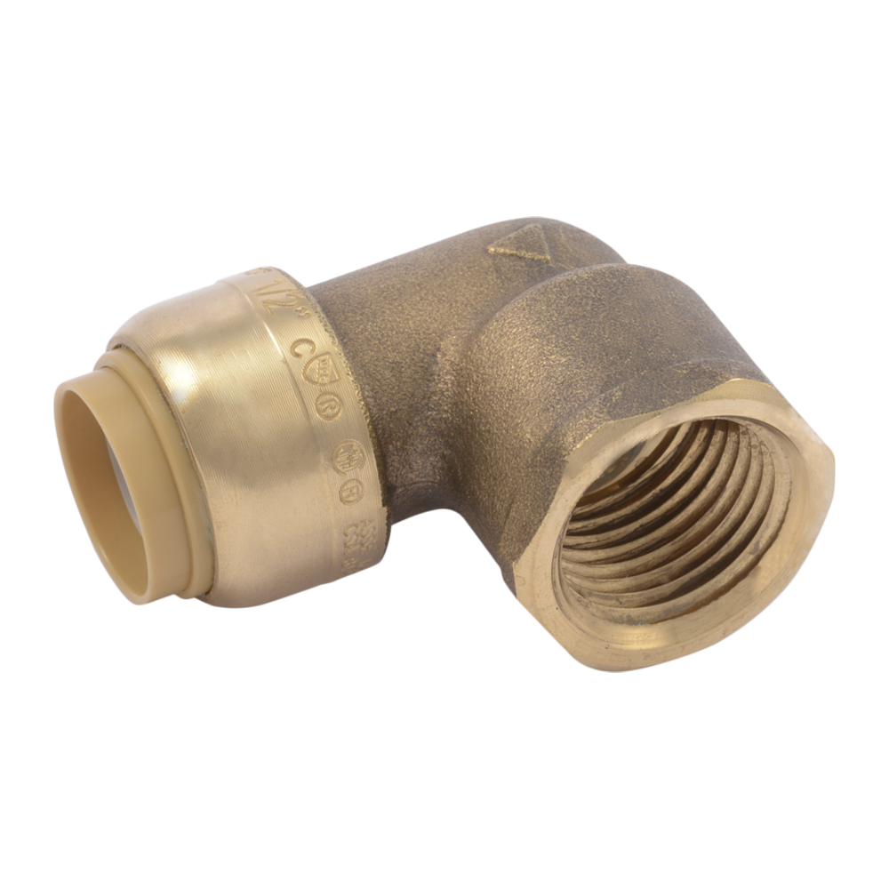 "1/2"" Push-to-Connect x 1/2"" FNPT SharkBite® Brass 90° Elbow"