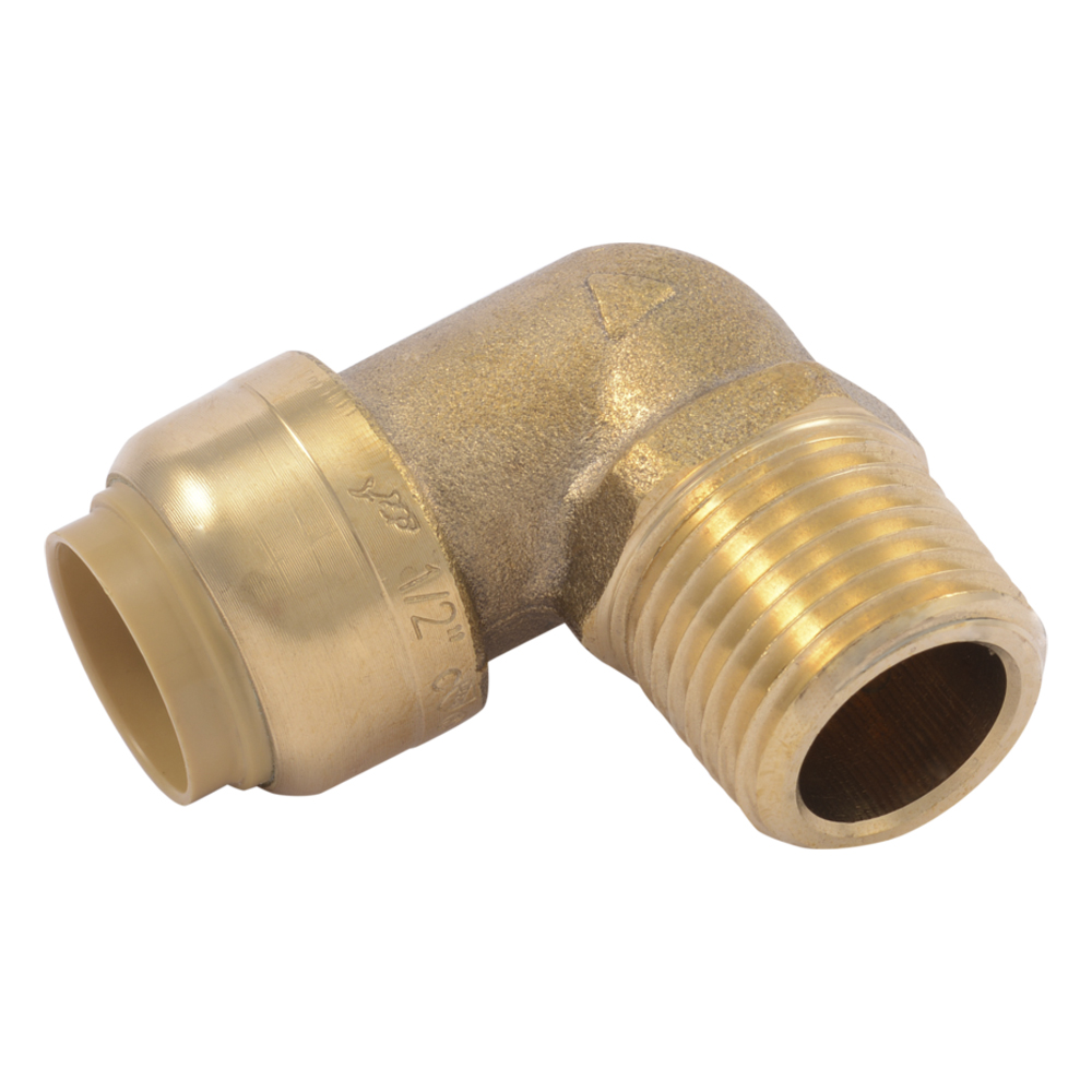 "1/2"" Push-to-Connect x 1/2"" MNPT SharkBite® Brass 90° Elbow"