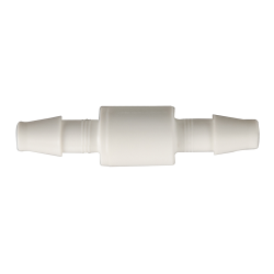 "1/8"" Hose Barb x 1/8"" Hose Barb White Nylon Mini Check Valve with Buna-N Seals"