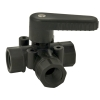 "3/8"" FNPT Polypropylene Three-way Ball Valve with Viton™ & Black Handle"