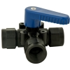 "1/2"" FNPT Polypropylene Three-way Ball Valve with Buna-N seals & Blue Handle"