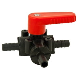 "3/8"" HB Polypropylene Three-way Ball Valve with EPDM seals & Red Handle"