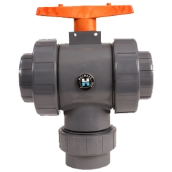 "1/2"" Threaded/Socket TW Series 3-Way PVC True Union Valve"
