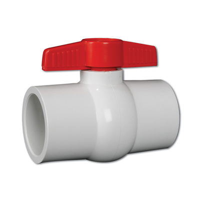 "1-1/2"" Threaded White Hayward® QVC Series Compact PVC Ball Valve"