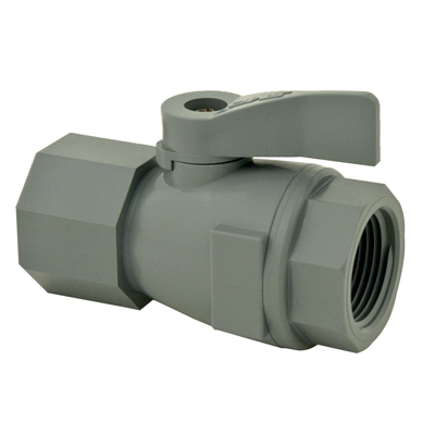 """3/4"""" FNPT x 3/4"""" FNPT Series 074 PVC Two-Way Ball Valve with Buna-N Seals"""
