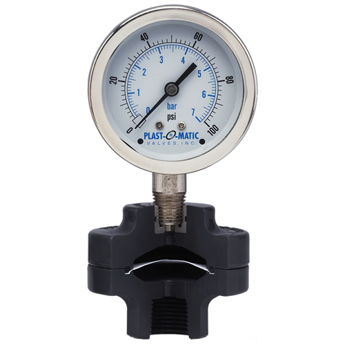"0-160 psi CPVC Gauge Guard with 2.5"" SS Gauge and FKM Diaphragm"