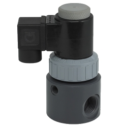"1/4"" NPT with 1/4"" Orifice PVDF Direct Action Solenoid with EPDM Seals"