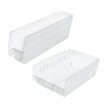 Akro-Mils® Clear Storage Shelf Bins & Bin Cups