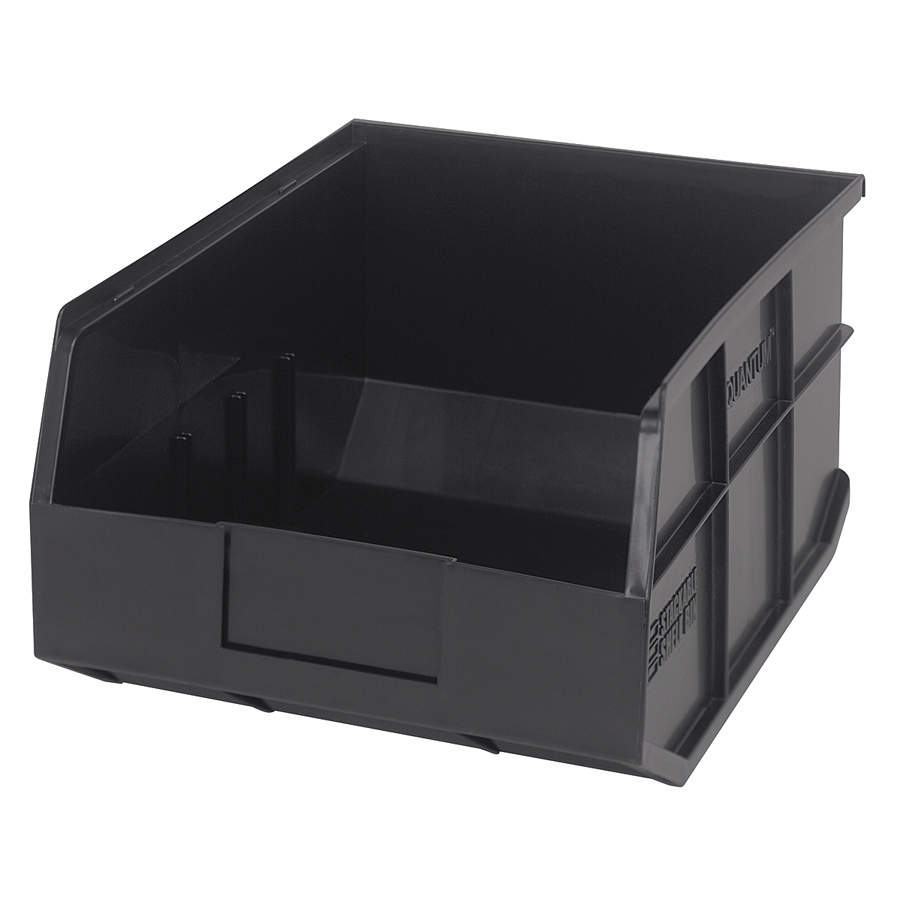 "14"" L x 11"" W x 7"" Hgt. Quantum® Black Stackable Shelf Bin"