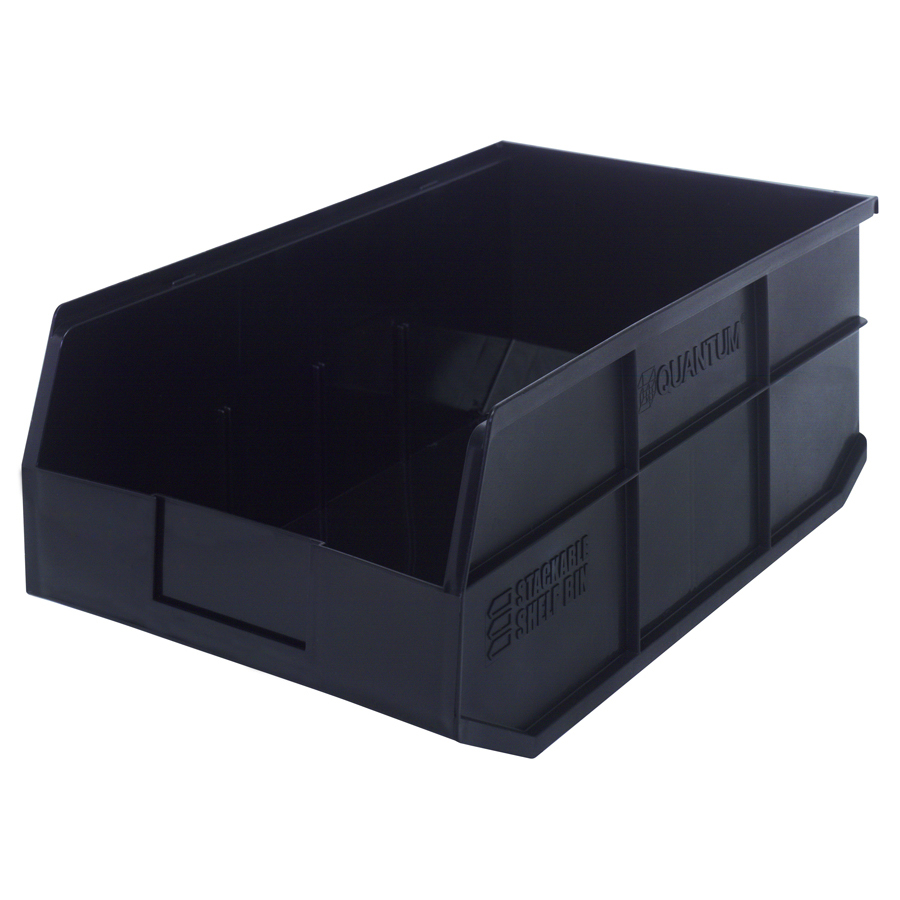 "18"" L x 11"" W x 7"" Hgt. Quantum® Black Stackable Shelf Bin"