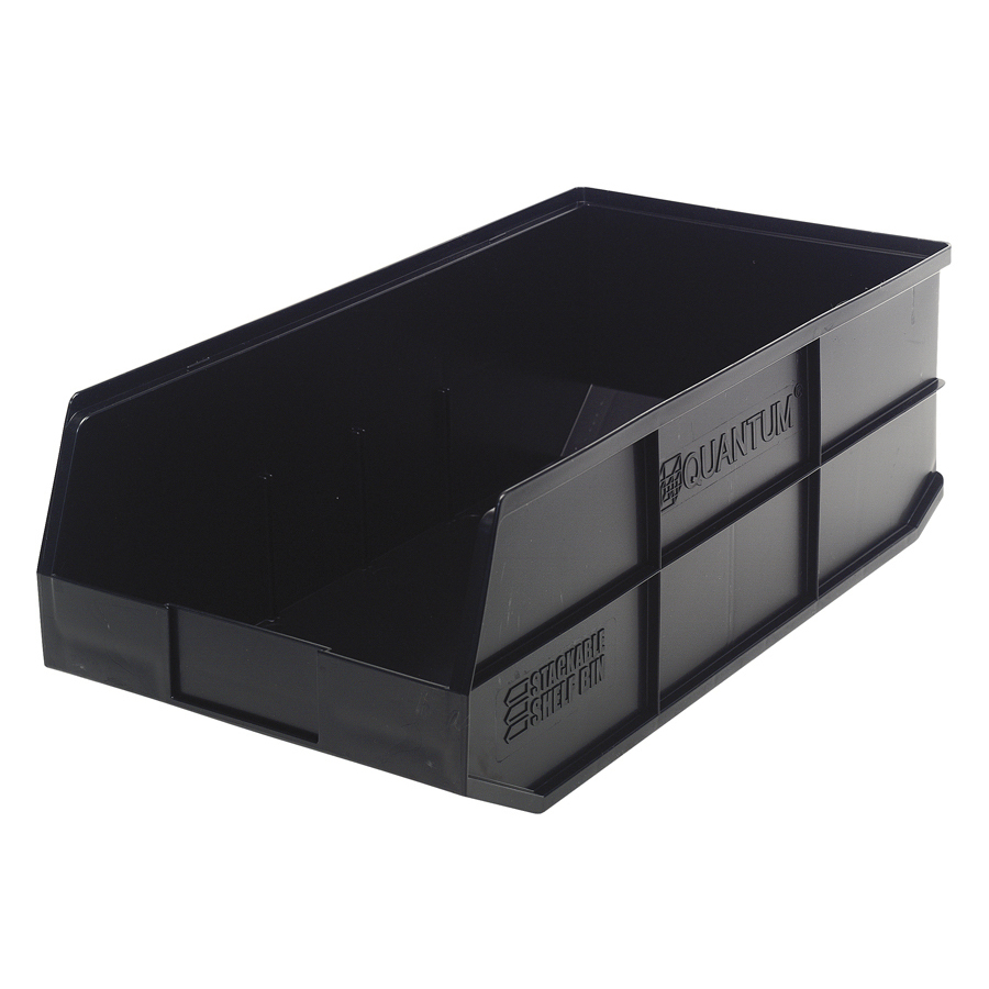 "20-1/2"" L x 11"" W x 7"" Hgt. Quantum® Black Stackable Shelf Bin"
