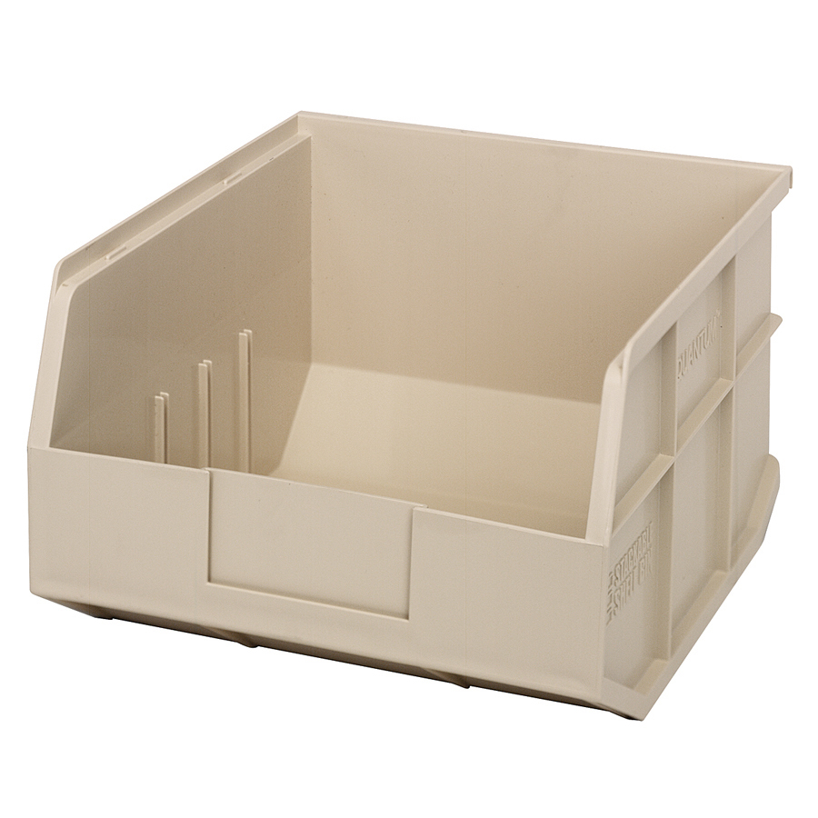 "12"" L x 11"" W x 7"" Hgt. Quantum® Ivory Stackable Shelf Bin"