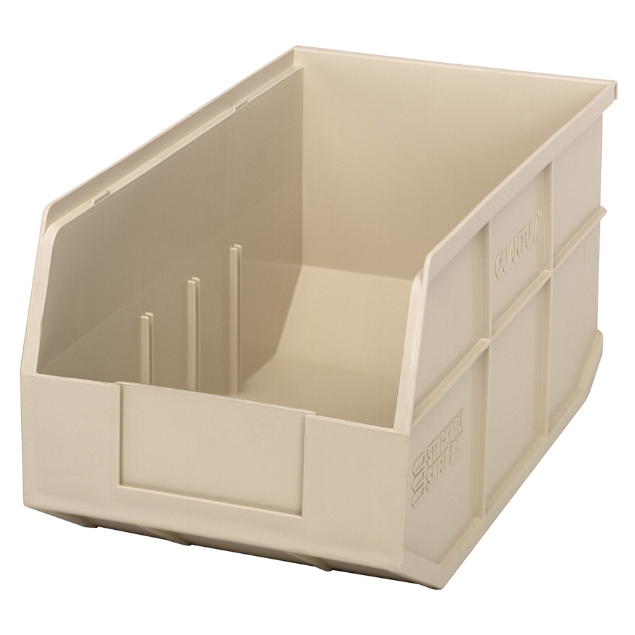 "14"" L x 8-1/4"" W x 7"" Hgt. Quantum® Ivory Stackable Shelf Bin"