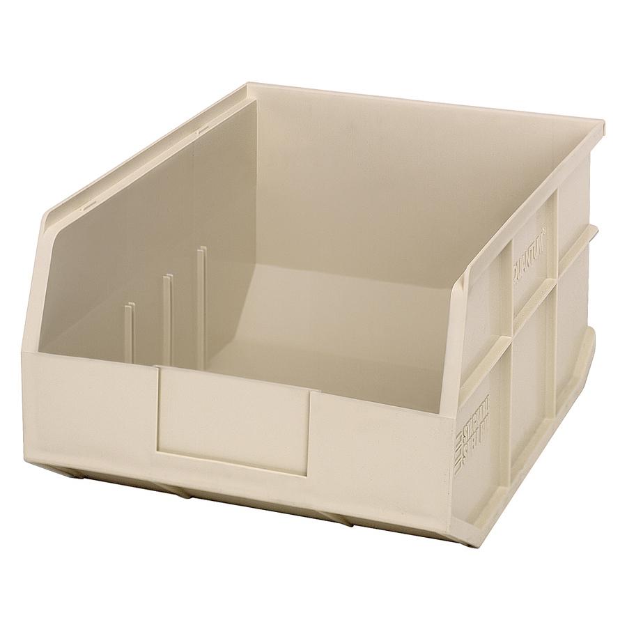 "14"" L x 11"" W x 7"" Hgt. Quantum® Ivory Stackable Shelf Bin"