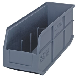 "18"" L x 6"" W x 7"" Hgt. Quantum® Gray  Stackable Shelf Bin"
