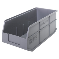"18"" L x 8-1/4"" W x 7"" Hgt. Quantum® Gray  Stackable Shelf Bin"