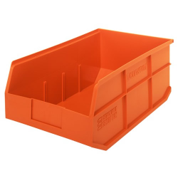 "18"" L x 11"" W x 7"" Hgt. Quantum® Orange  Stackable Shelf Bin"
