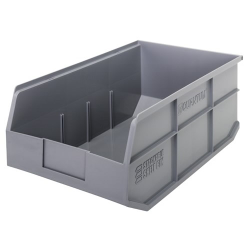 "18"" L x 11"" W x 7"" Hgt. Quantum® Gray  Stackable Shelf Bin"