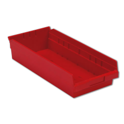 "17-7/8"" L x 8-3/8"" W x 4"" Hgt. Red Shelf Bin"