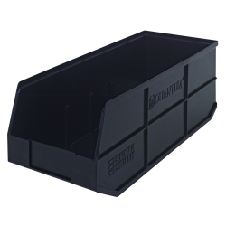 "20-1/2"" L x 8-1/4"" W x 7"" Hgt. Quantum® Black Stackable Shelf Bin"