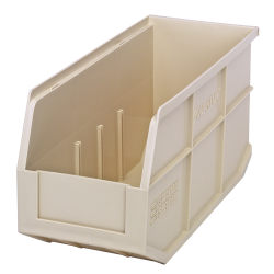 "14"" L x 6"" W x 7"" Hgt. Quantum® Ivory Stackable Shelf Bin"