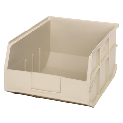 "14"" L x 11"" W x 7"" Hgt. Quantum® Ivory Stackable Shelf Bin"