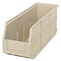 "18"" L x 6"" W x 7"" Hgt. Quantum® Ivory Stackable Shelf Bin"