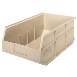 "18"" L x 11"" W x 7"" Hgt. Quantum® Ivory Stackable Shelf Bin"