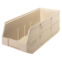 "20-1/2"" L x 8-1/4"" W x 7"" Hgt. Quantum® Ivory Stackable Shelf Bin"