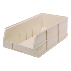 "20-1/2"" L x 11"" W x 7"" Hgt. Quantum® Ivory Stackable Shelf Bin"