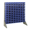 "Single Sided Rack with 12 Rails & 96 Blue Bins 7-1/2""L x 4-1/8""W x 3""H"