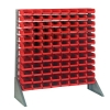 "Single Sided Rack with 12 Rails & 96 Red Bins 7-1/2""L x 4-1/8""W x 3""H"