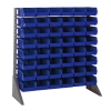 "Single Sided Rack with 16 Rails & 48 Blue Bins 11-7/8""L x 5-1/2""W x 5""H"
