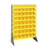 "Single Sided Rack with 16 Rails & 48 Yellow Bins 11-7/8""L x 5-1/2""W x 5""H"