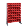 "Single Sided Rack with 16 Rails & 48 Red Bins 11-7/8""L x 5-1/2""W x 5""H"