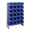 "Single Sided Rack with 12 Rails & 24 Blue Bins 14-3/4""L x 8-1/4""W x 7""H"