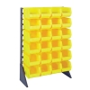 "Single Sided Rack with 12 Rails & 24 Yellow Bins 14-3/4""L x 8-1/4""W x 7""H"