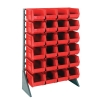 "Single Sided Rack with 12 Rails & 24 Red Bins 14-3/4""L x 8-1/4""W x 7""H"