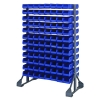 "Double Sided Rack with 12 Rails & 192 Blue Bins 7-1/2""L x 4-1/8""W x 3""H"
