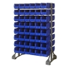 "Double Sided Rack with 16 Rails & 96 Blue Bins 11-7/8""L x 5-1/2""W x 5""H"