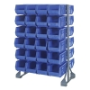"Double Sided Rack with 12 Rails & 48 Blue Bins 14-3/4""L x 8-1/4""W x 7""H"