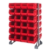 "Double Sided Rack with 12 Rails & 48 Red Bins 14-3/4""L x 8-1/4""W x 7""H"