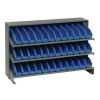 "Bench Rack 12""D x 36""W x 21""H with 36 Blue Bins 11-7/8""L x 2-3/4""W x 4""H"