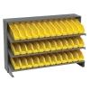 """Bench Rack 12"""" D x 36"""" W x 21"""" Hgt. with 36 Yellow Bins 11-7/8"""" L x 2-3/4"""" W x 4"""" Hgt."""